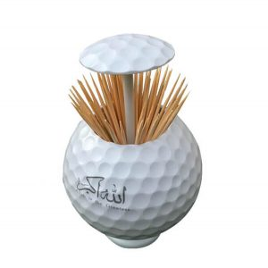 Golf ball shaped toothpick holder